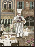 Chef with Wine Stretched Canvas Print by Betty Whiteaker