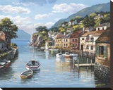 Village on the Water Stretched Canvas Print by Sung Kim