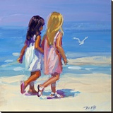 Beach Stroll Stretched Canvas Print by Lucelle Raad