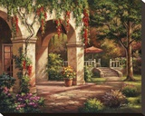 Arch Courtyard II Stretched Canvas Print by Sung Kim