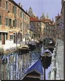 La Barche Sul Canale Stretched Canvas Print by Guido Borelli