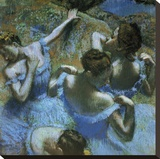 Dancers in Blue Stretched Canvas Print by Edgar Degas
