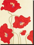 Poppy Party II Stretched Canvas Print by Monica Kuchta