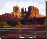 Red Rock Crossing Stretched Canvas Print by Ann Mcleod