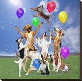Dogs partying Stretched Canvas Print by  Lund-Roeser