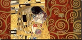 The Kiss (gold montage) Stretched Canvas Print by Gustav Klimt