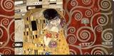 The Kiss (pewter montage) Impressão em tela esticada por Gustav Klimt
