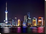 Shanghai at night Stretched Canvas Print by Vadim Ratsenskiy