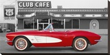 1961 Chevrolet Corvette at Club Cafe on Route 66 キャンバスプリント