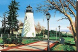 Concord Point Light Stretched Canvas Print by Caroline Jasper