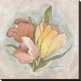Victorian Panel-Tulips Stretched Canvas Print by Peggy Abrams