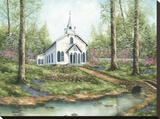 Country Church Stretched Canvas Print by Sherry Masters
