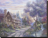 Bear Creek Lodge Stretched Canvas Print by Carl Valente