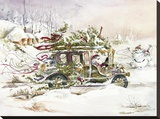 Santa's Limousine Stretched Canvas Print by Peggy Abrams