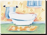 Tub On Flowered Mat Stretched Canvas Print by Dona Turner