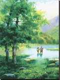 Fishing On Eagle Lake Stretched Canvas Print by Salvador Caballero