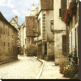 Noyers Street Stretched Canvas Print by Judy Mandolf