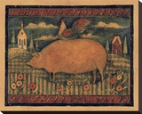 Farmhouse Pig Stretched Canvas Print by Susan Winget