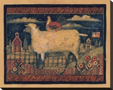 Farmhouse Sheep Stretched Canvas Print by Susan Winget