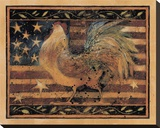 Old Glory Rooster Stretched Canvas Print by Susan Winget