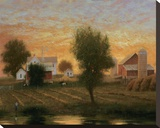 Midwest Farm Pond Stretched Canvas Print by Raymond Knaub