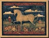 Farmhouse Horse Reproduction transférée sur toile par Susan Winget