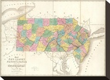 Map of New Jersey and Pennsylvania, c.1839 Stretched Canvas Print by David H. Burr
