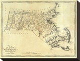 State of Massachusetts, c.1795 Stretched Canvas Print by Mathew Carey