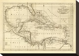 Chart of the West Indies, c.1811 Stretched Canvas Print by Mathew Carey