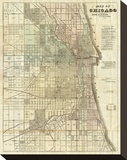 Map of Chicago, c.1857 Stretched Canvas Print by Rufus Blanchard