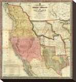 New Map of Texas, Oregon and California, c.1846 Stretched Canvas Print by Samuel Augustus Mitchell