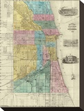 Guide Map of Chicago, c.1869 Stretched Canvas Print by Rufus Blanchard