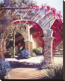 Bougainvillea Courtyard Stretched Canvas Print by Peter Van Dusen
