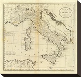 Italy and Sardinia, c.1796 Stretched Canvas Print by Mathew Carey