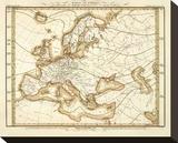 Karte Von Europa, c.1837 Stretched Canvas Print by Heinrich Berghaus