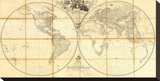 Map of the World, Researches of Capt. James Cook, c.1808 Stretched Canvas Print by Aaron Arrowsmith