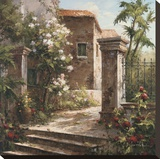 Courtyard With Flowers Stretched Canvas Print by Gabriela 