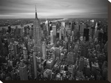 Manhattan looking northwest toward Hudson river at dusk Stretched Canvas Print by Cameron Davidson