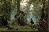 Forêt de pins le matin Reproduction transférée sur toile par Ivan Ivanovitch Shishkin