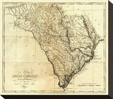 State of South Carolina, c.1795 Stretched Canvas Print by Mathew Carey