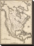 Map of North America, c.1839 Stretched Canvas Print by Samuel Augustus Mitchell