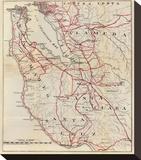 California: San Mateo, Santa Cruz, Santa Clara, Alameda, and Contra Costa Counties, c.1896 Stretched Canvas Print by George W. Blum