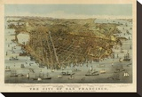 San Francisco Birds Eye View, c.1878 Stretched Canvas Print by Charles R. Parsons