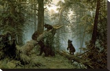 Forêt de pins le matin Reproduction sur toile tendue par Ivan Ivanovitch Shishkin