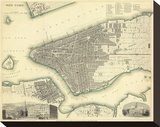 New York, New York, c.1840 Stretched Canvas Print