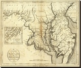 States of Maryland and Delaware, c.1796 Stretched Canvas Print by John Reid