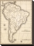 Map of South America, c.1839 Stretched Canvas Print by Samuel Augustus Mitchell