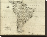 Map of South America, c.1796 Stretched Canvas Print by John Reid