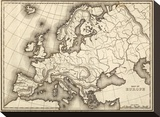 Map of Europe, c.1839 Stretched Canvas Print by Samuel Augustus Mitchell