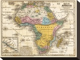 Map of Africa, c.1839 Stretched Canvas Print by Samuel Augustus Mitchell